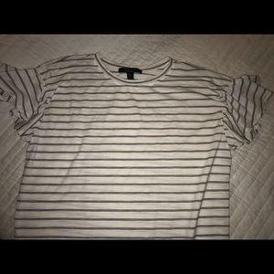 Striped Ruffle Sleeve TeeShirt Dress